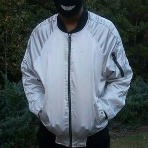 White Satin XL Men's Bomber Jacket